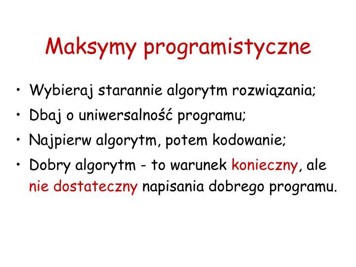Maksymy programistyczne