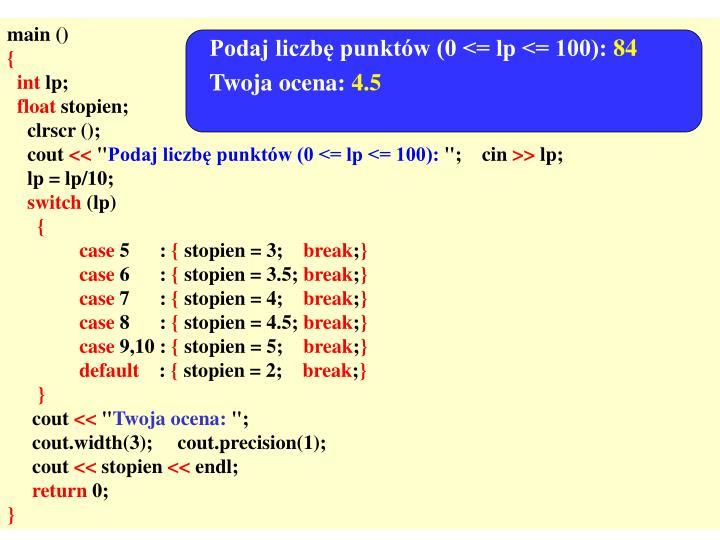 Podaj liczbę punktów (0 <= lp <= 100):
