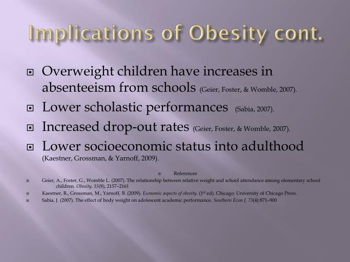 Implications of Obesity cont.