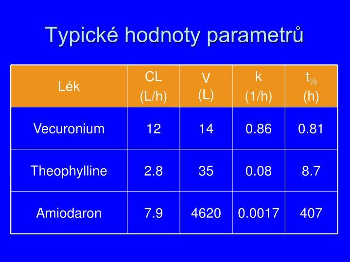 Typické hodnoty parametrů