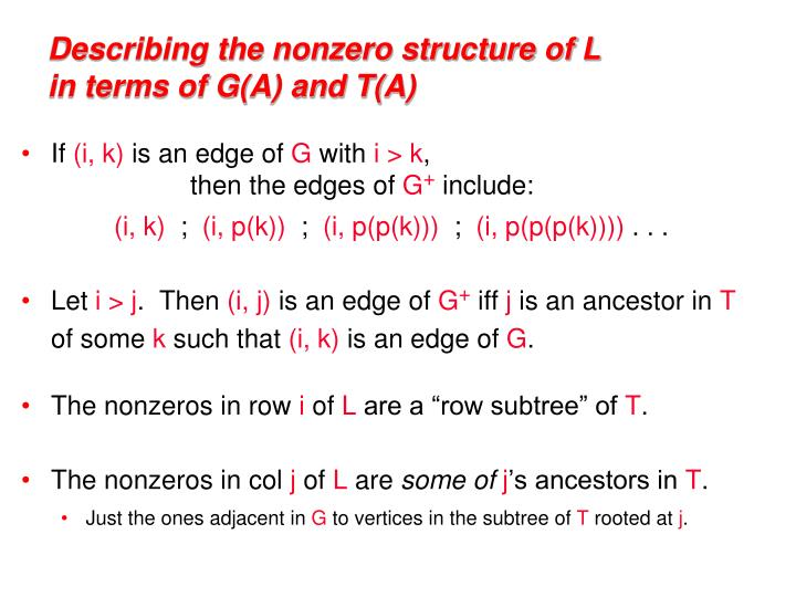 Describing the nonzero structure of L