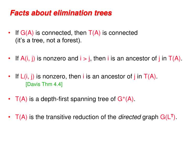 Facts about elimination trees
