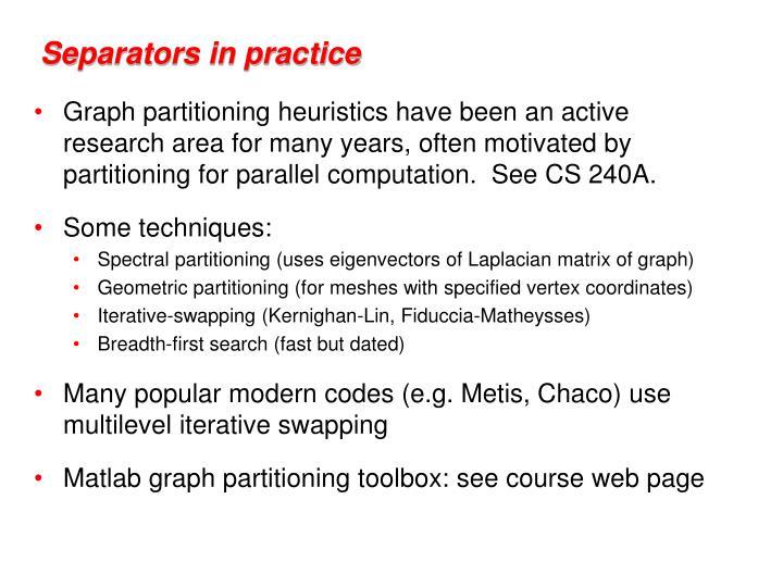 Separators in practice