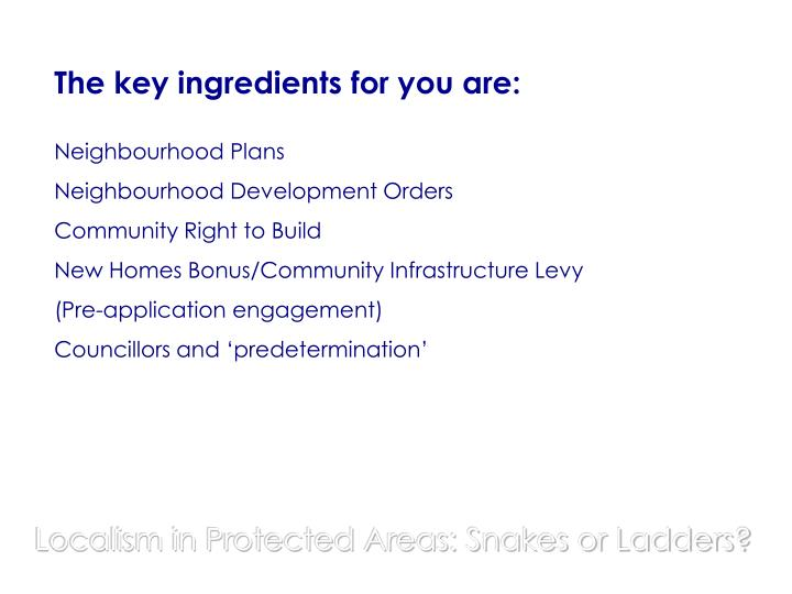 The key ingredients for you are: