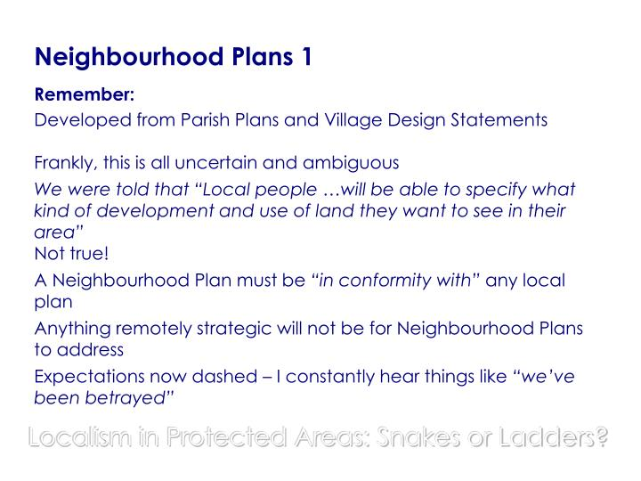 Neighbourhood Plans 1
