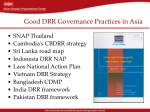 good drr governance practices in asia
