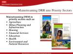 mainstreaming drr into priority sectors