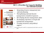 rcc 2 priorities for capacity building for national systems
