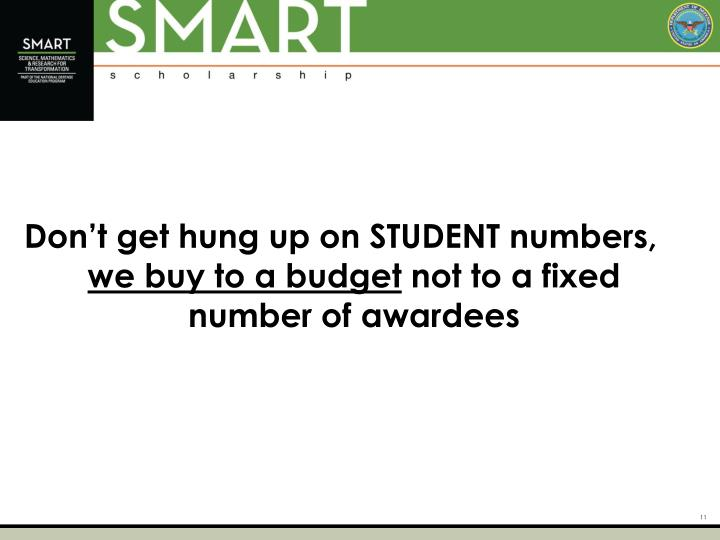 Don't get hung up on STUDENT numbers,