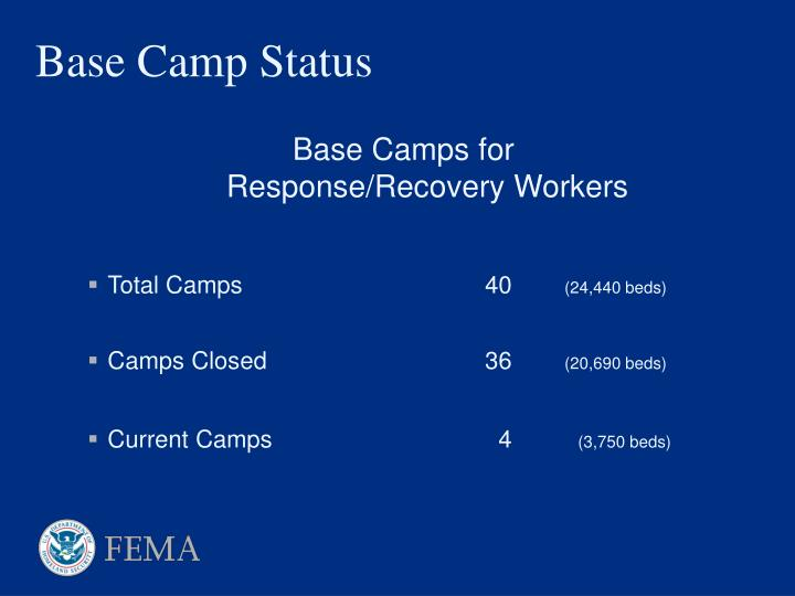Base Camps for Response/Recovery Workers