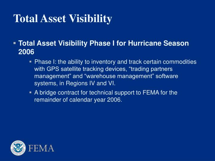 Total Asset Visibility Phase I for Hurricane Season 2006