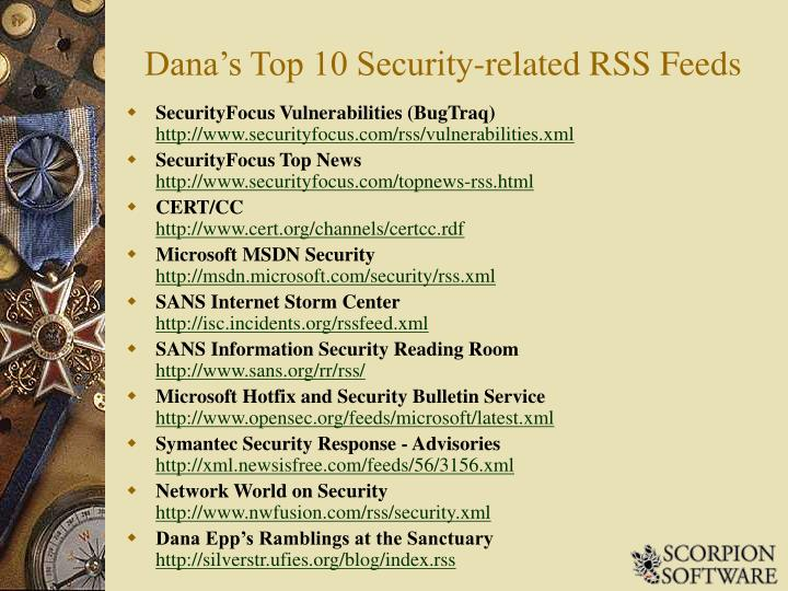 Dana's Top 10 Security-related RSS Feeds