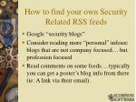 how to find your own security related rss feeds