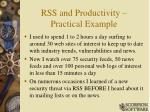 rss and productivity practical example