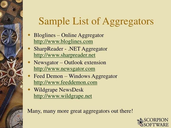 Sample List of Aggregators
