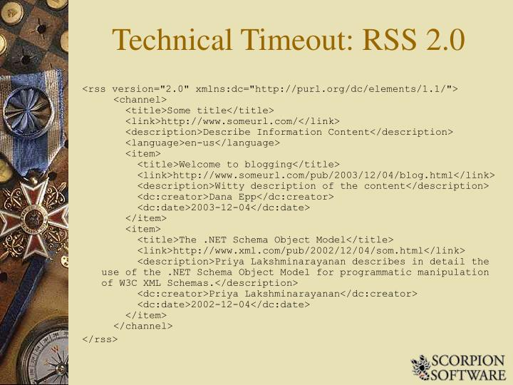 Technical Timeout: RSS 2.0