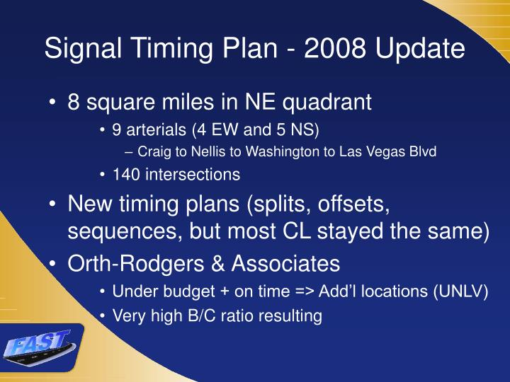 Signal Timing Plan - 2008 Update