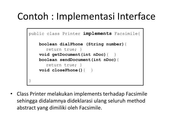 Contoh : Implementasi Interface