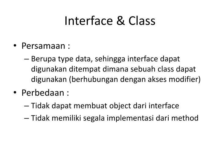 Interface & Class