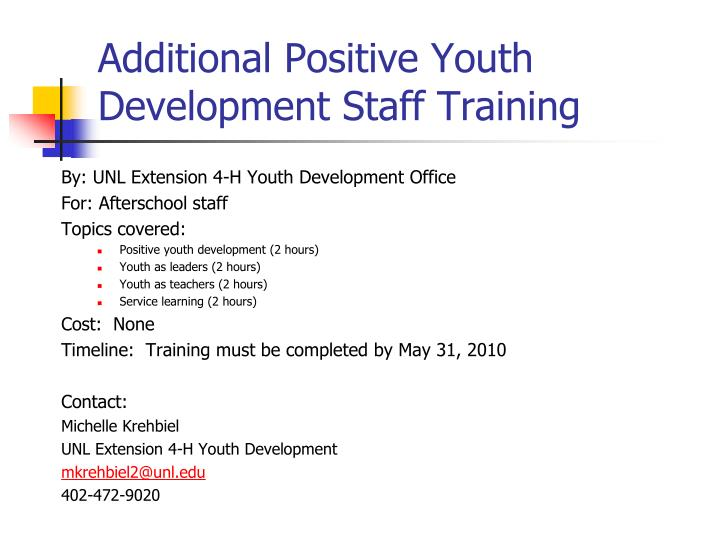 Additional Positive Youth Development Staff Training