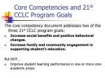 core competencies and 21 st cclc program goals