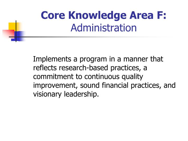 Core Knowledge Area F: