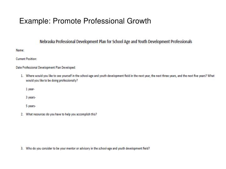 Example: Promote Professional Growth