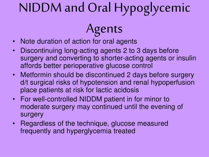 NIDDM and Oral Hypoglycemic Agents
