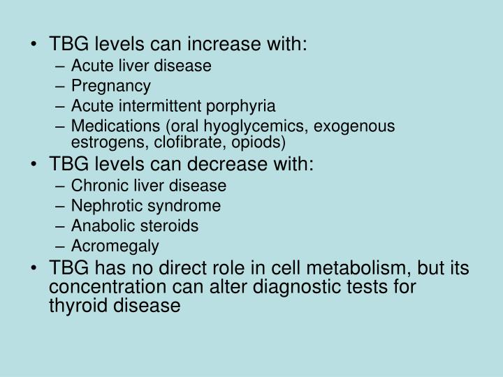 TBG levels can increase with: