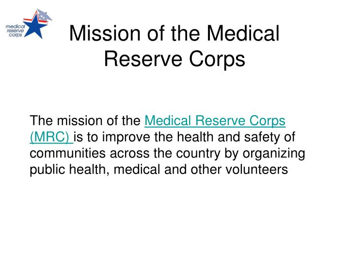 Mission of the Medical Reserve Corps