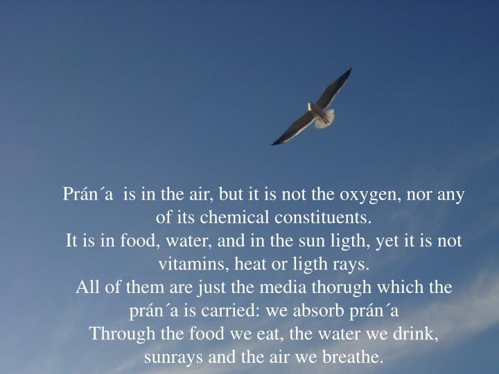 Prán´a  is in the air, but it is not the oxygen, nor any of its chemical constituents.