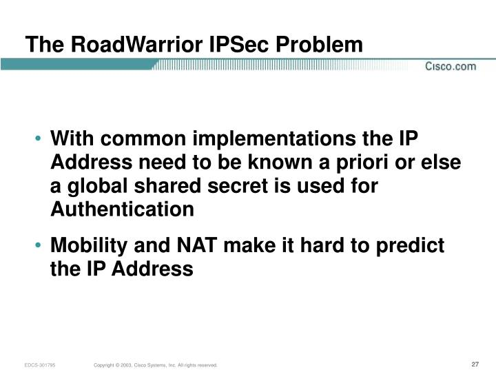 The RoadWarrior IPSec Problem