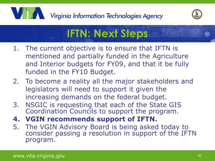 IFTN: Next Steps