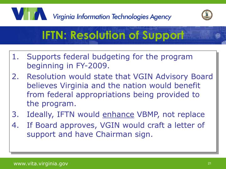 IFTN: Resolution of Support
