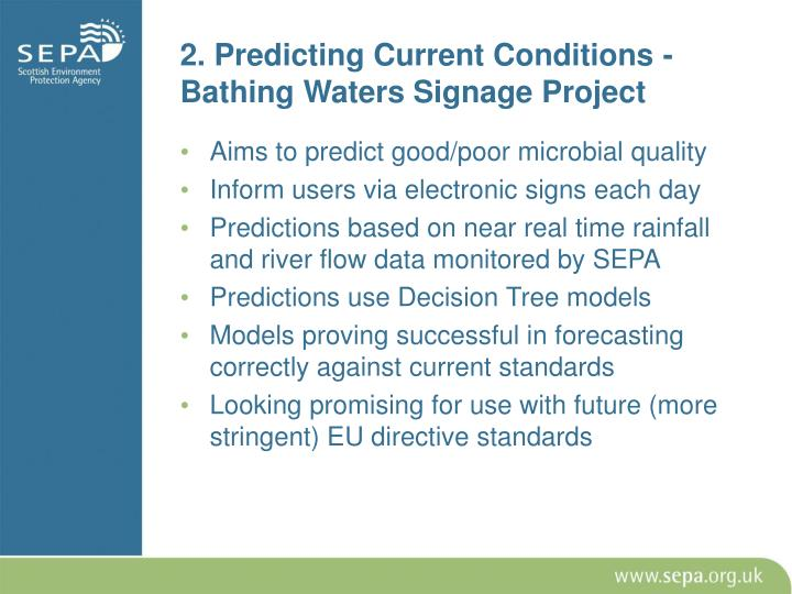 2. Predicting Current Conditions - Bathing Waters Signage Project