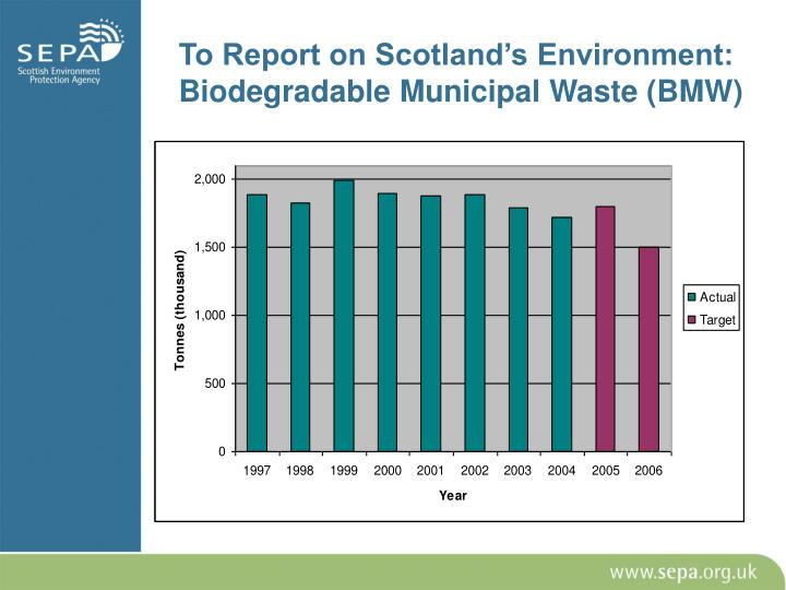 To Report on Scotland's Environment: