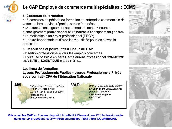 Le CAP Employé de commerce multispécialités : ECMS