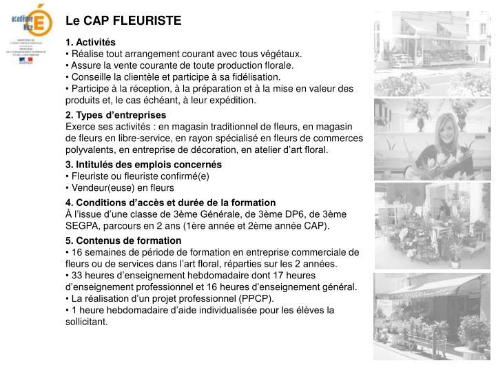 Le CAP FLEURISTE