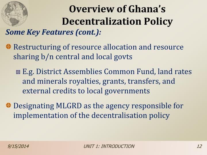 Overview of Ghana's Decentralization Policy