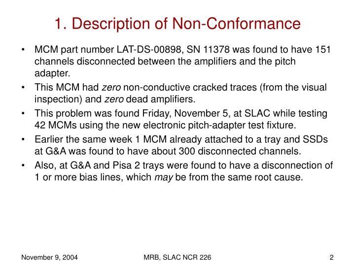 1. Description of Non-Conformance