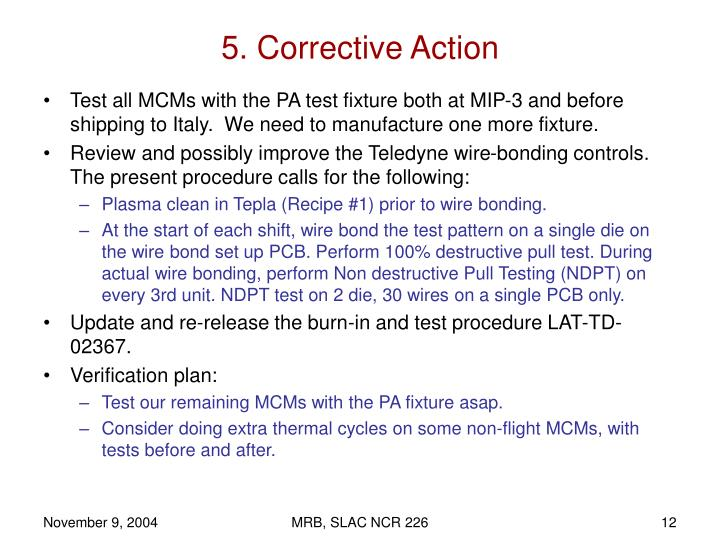 5. Corrective Action