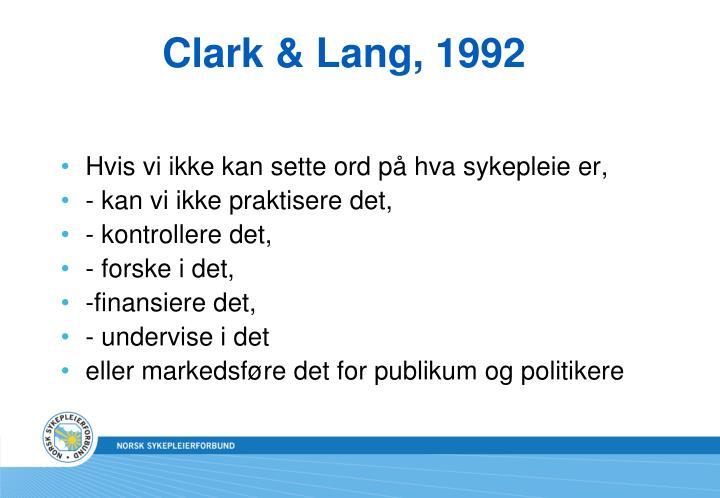 Clark & Lang, 1992