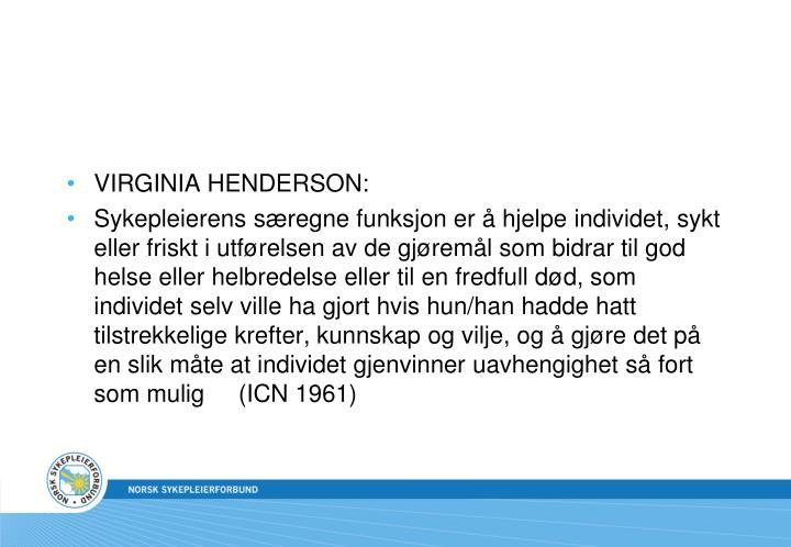 VIRGINIA HENDERSON: