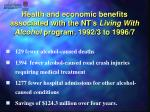 health and economic benefits associated with the nt s living with alcohol program 1992 3 to 1996 7