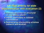 high priority for wide implementation with evaluation 2