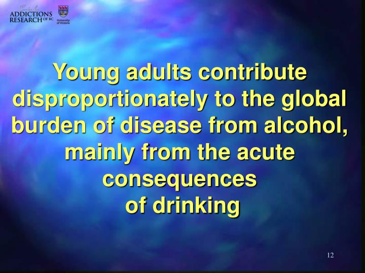 Young adults contribute disproportionately to the global burden of disease from alcohol, mainly from the acute consequences