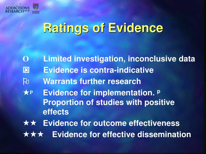 Ratings of Evidence