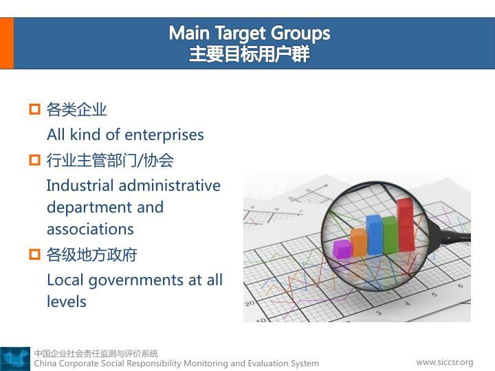 Main Target Groups