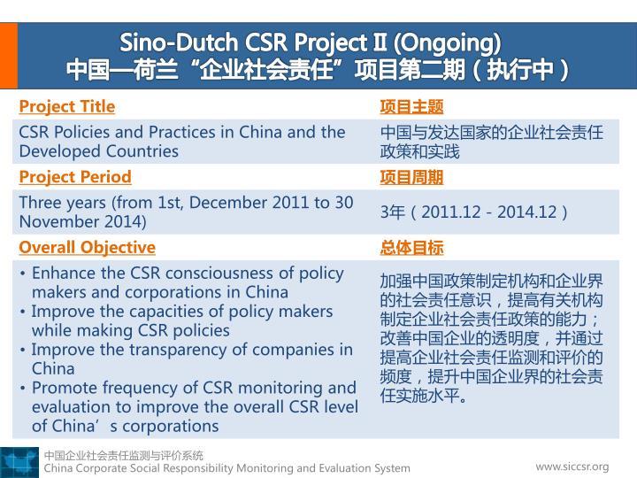 Sino-Dutch CSR Project