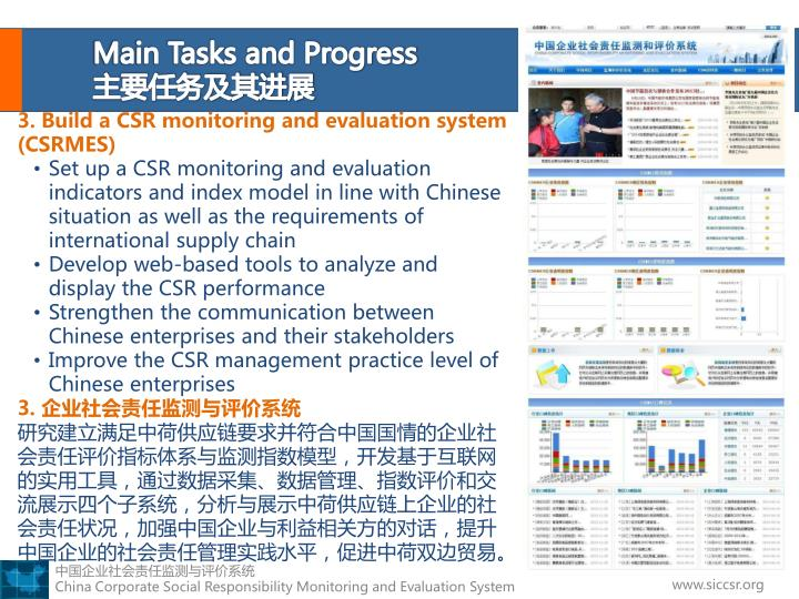 Main Tasks and Progress